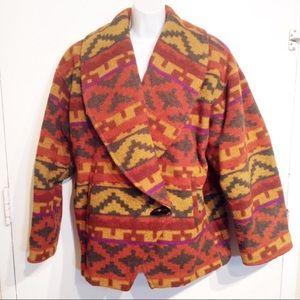 VTG Sothwestern Boho Native Tribal Print Coat